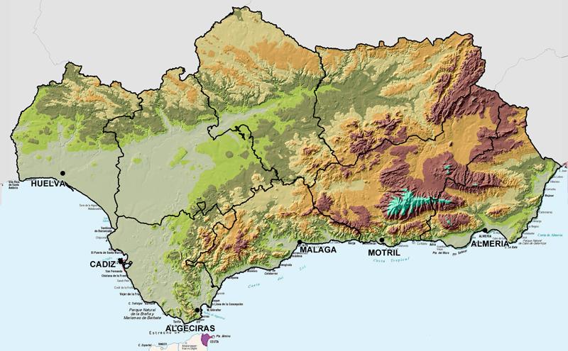Carte Andalousie Relief.Climat De La Costa Del Sol Acclimatons